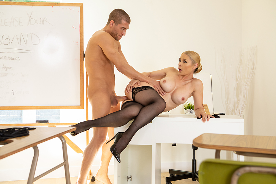 Blonde office chick fucked by the horny janitor