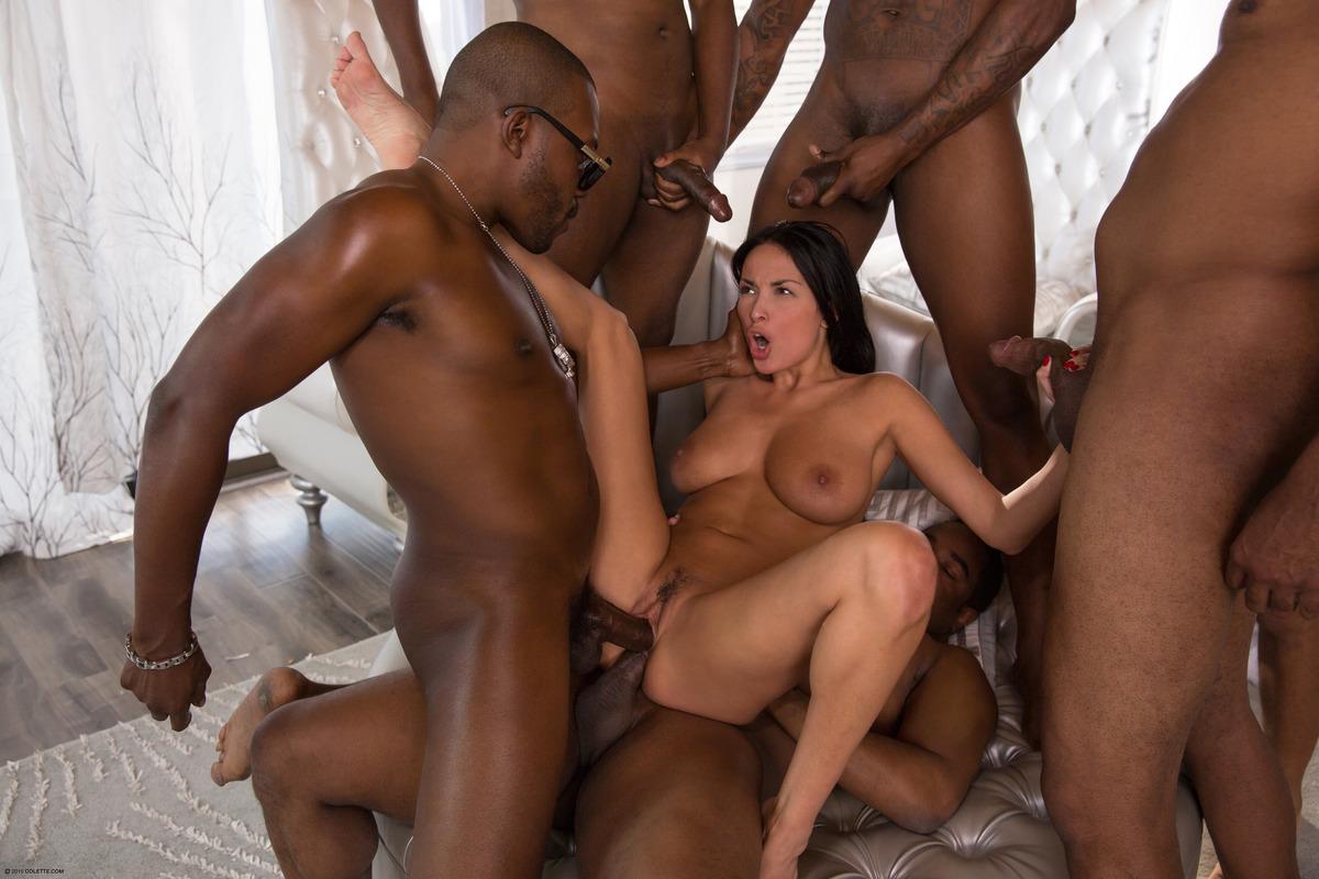 Sexy little slut interracial gangbang dp